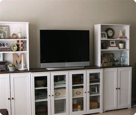 ikea built in entertainment center white entertainment center from ikea with butcher block