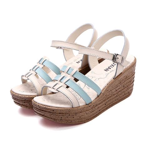 thick sandals thick leather sandals high heels fish shoes blue