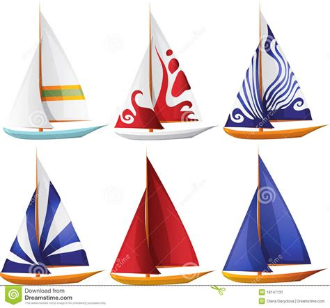 cartoon red boat set of small sailing boats stock vector image of journey