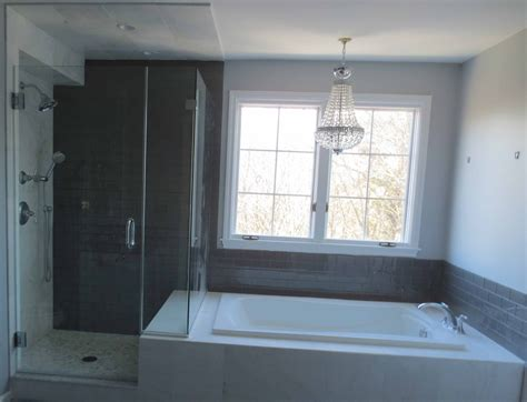 part tiled bathroom complete bathroom install subway glass tile and carrera