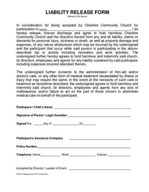 Other Template Category Page 1206 Sawyoo Com Personal Liability Waiver Template