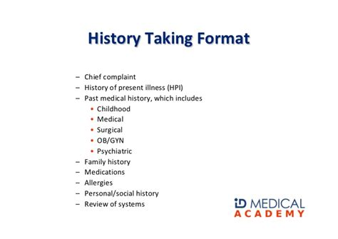 History Taking Skills History Of Present Illness Template