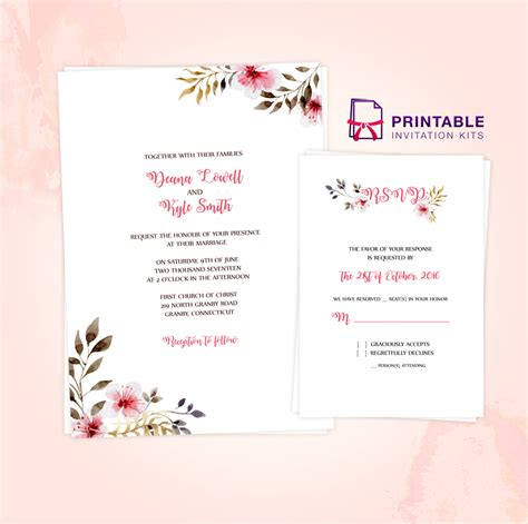 printable wedding invitation kits free clean delicate vintage floral invitation and rsvp