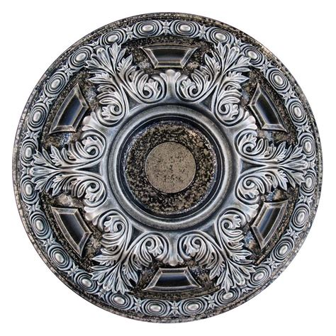painting a ceiling medallion deco 23 5 8 in bright silver and warm