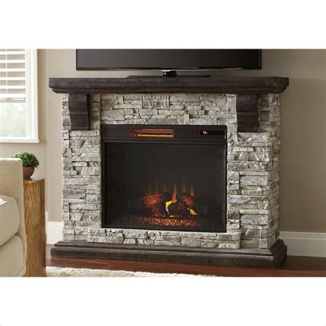 portable fireplace highland 50 in faux stone mantel electric fireplace in