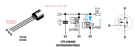 transistor gate drain mosfet 2n7000 as in ocd