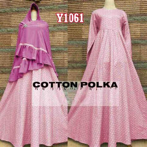 Gamis Jumbo Polka y1061 gamis bergo katun polka pink bajugamisku