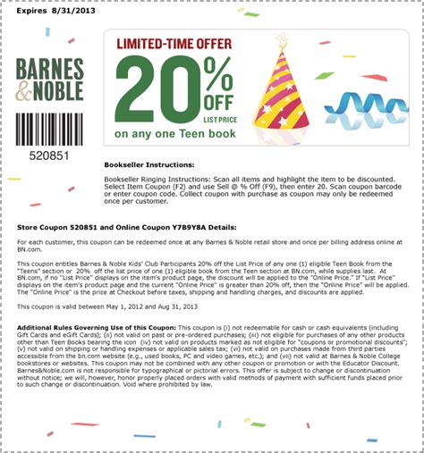 Barnes And Noble In Store Coupon Printable barnes and noble printable coupons coupon code discount