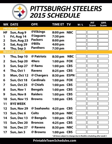 printable ravens schedule 2015 best 25 steelers schedule ideas on pinterest nfl