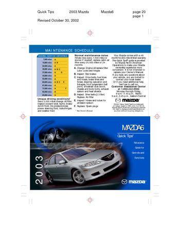 all car manuals free 2003 mazda mazda6 electronic valve timing download 2003 mazda 6 quick tips pdf manual 10 pages
