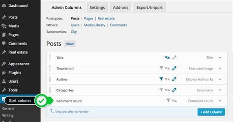 wordpress screen layout columns enable sorting for a column documentation admin