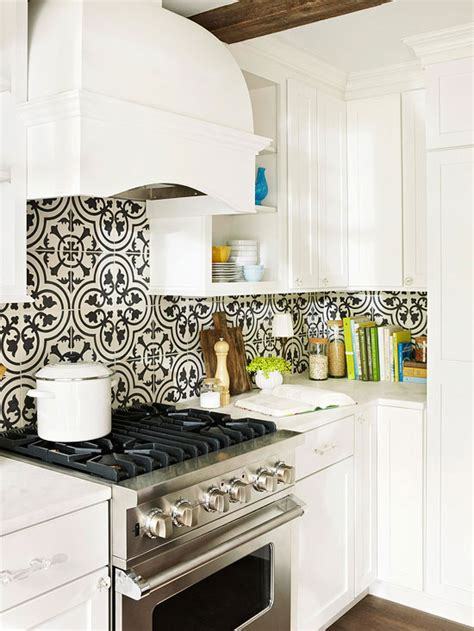 backsplash for black and white kitchen moroccan tile backsplash eclectic kitchen bhg