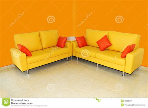 sofa set pillows yellow sofa set with pillows stock images image 10383674
