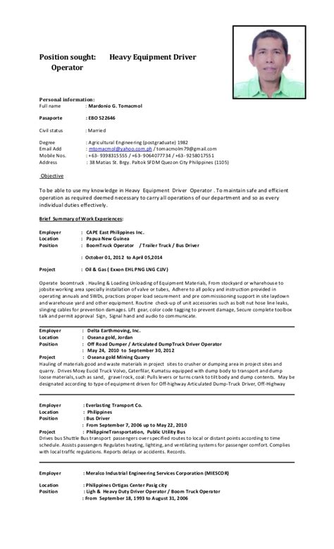 Personal Driver Resume Mgt Cv 2015 Heo