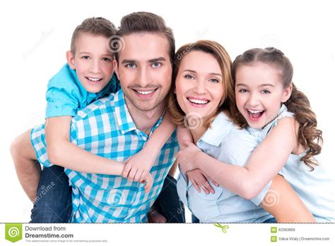 images of family portrait of the happy european family with children stock