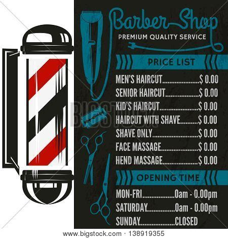 Barber Shop Vector Price List Template Haircut And Shave Retro Barber | barber shop vector price list template haircut and shave