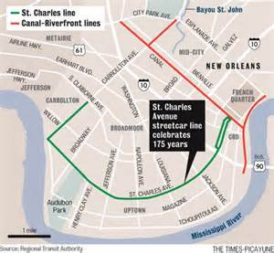 new orleans trolley car map image gallery new orleans streetcar map