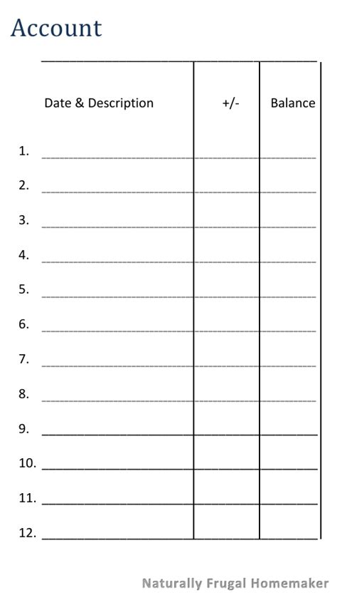 The Cash Envelope System Free Printable Cash Envelope Naturally Frugal Homemaker Envelope Register Template
