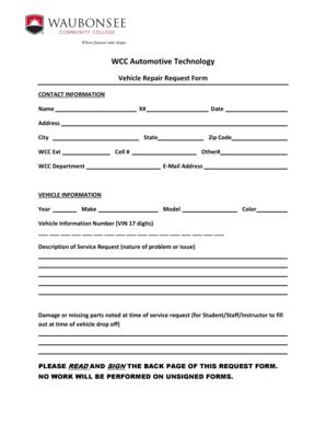 vehicle repair form template vehicle maintenance request form vehicle ideas