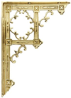 "Brass Gothic Style Shelf Bracket   9 1/4"" x 6 3/4""   House"