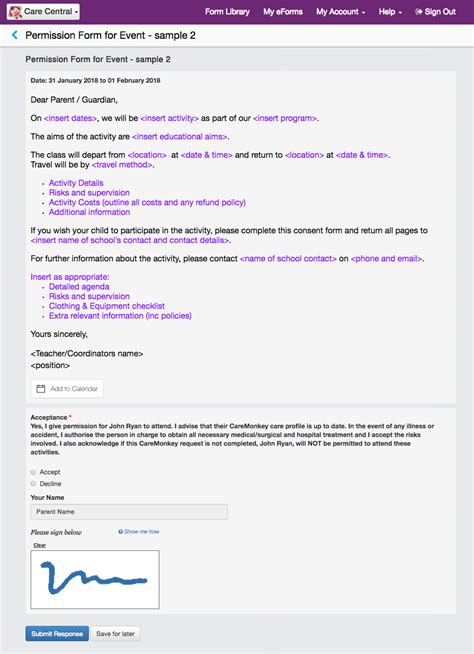 Parent Permission Form Template by New Feature Pre Built Form Templates For Schools Caremonkey