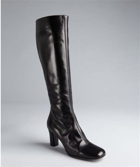 marc black leather square toe side zip boots
