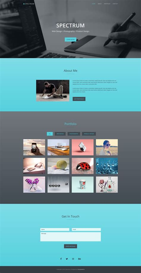 Spectrum Free One Page Portfolio Bootstrap Website Template Free Bootstrap Templates Personal Page Template Bootstrap