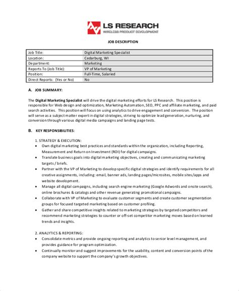 Automation Specialist Cover Letter by Sales Specialist Description Description Of A Marketing Automation Specialist
