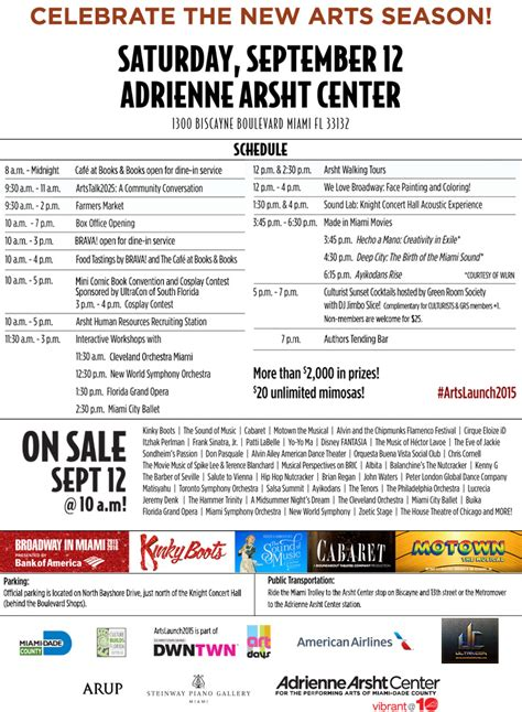 Arsht Center Calendar Artslaunch2015 Adrienne Arsht Center