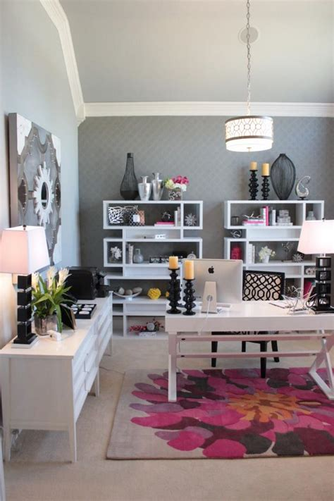 sophisticated gray home office features pops  pink hgtv