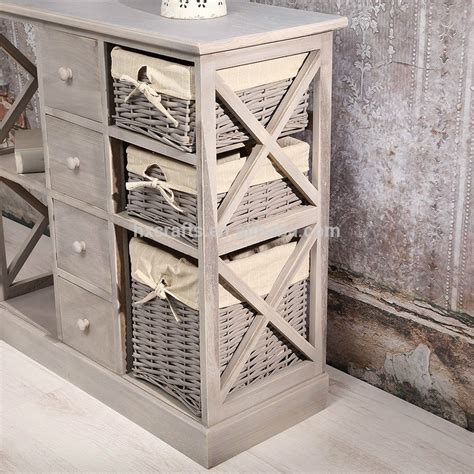 Formidable Meuble De Salle Bain Pas Cher #6: Shabby-Chic-Grey-New-Wicker-Basket-Sideboard.jpg