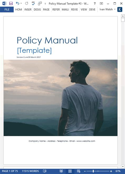 Policy Manual Template Ms Word With Free Checklists Free Handbook Template Word