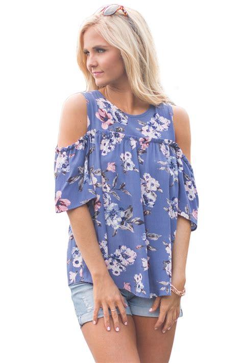 43073 Blue Flower Blouse cold shoulder blue floral blouse