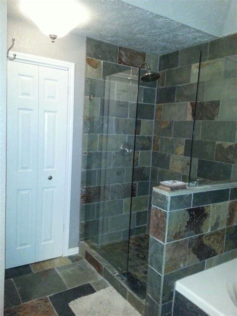 doorless curbless tile shower with river rock floor and the hord house master bathroom slate tile doorless