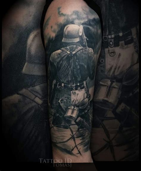 war tattoo black and grey realistic war ww2