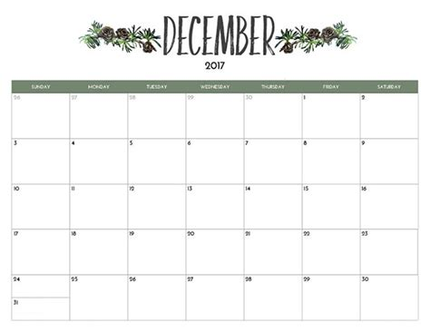printable monthly calendar for december 2017 december 2017 printable calendar template free printable
