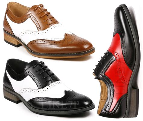 s two tone perforated wing tip lace up fashion oxford dress shoes ebay