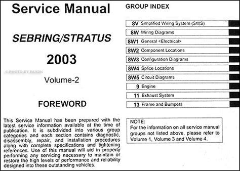 old car manuals online 2003 chrysler sebring on board diagnostic system 2003 sebring stratus coupe repair shop manual original 4 volume set