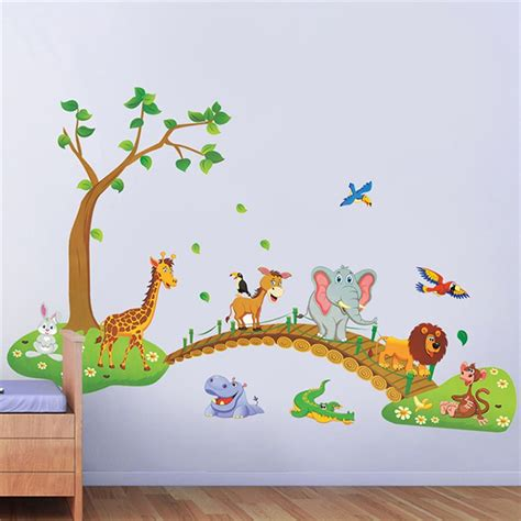 wall stickers for kids bedrooms big jungle animals bridge vinyl wall stickers kids bedroom