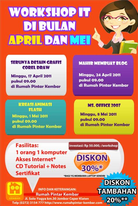 membuat iklan jasa dalam bahasa inggris rangkaian workshop it menarik di bulan april dan mei 2011
