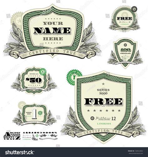 design logo earn money vector money badges financial frames leaf stock vector