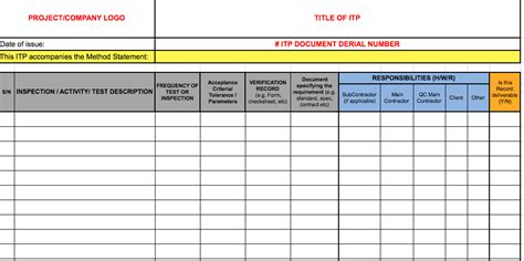 download the itp template for construction quality in