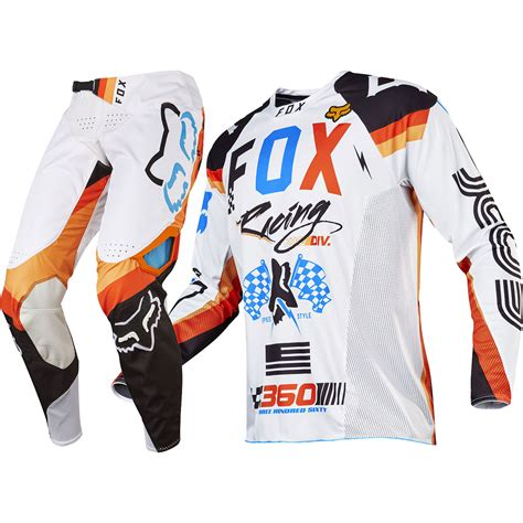 white motocross gear fox racing 2017 mx 360 rohr white orange jersey