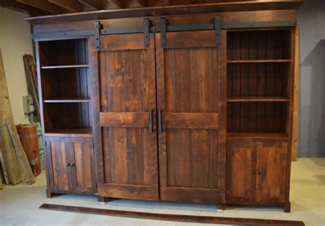 Parker Bookcase Barn Door Entertainment Cabinet Farmhouse