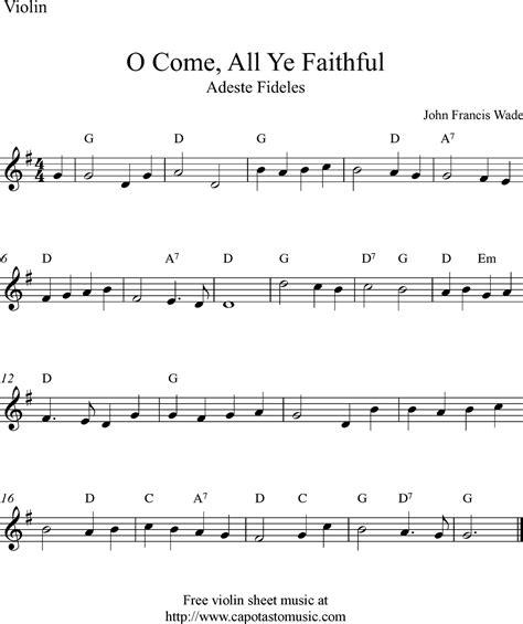 printable christmas violin sheet music free free christmas violin sheet music o come all ye faithful