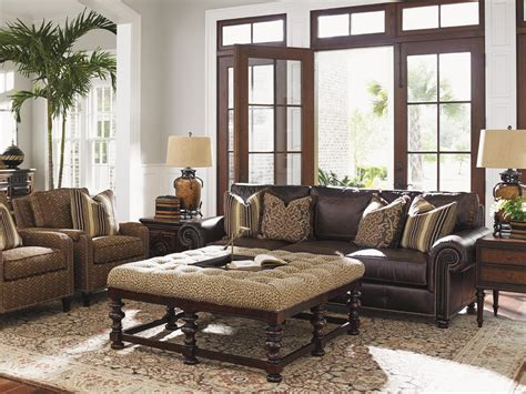 Tommy Bahama Home Kilimanjaro Heather Button Tufted Bahama Living Room Decorating Ideas