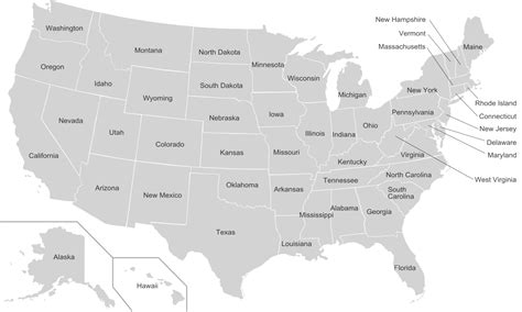 map of states of usa with name u s state