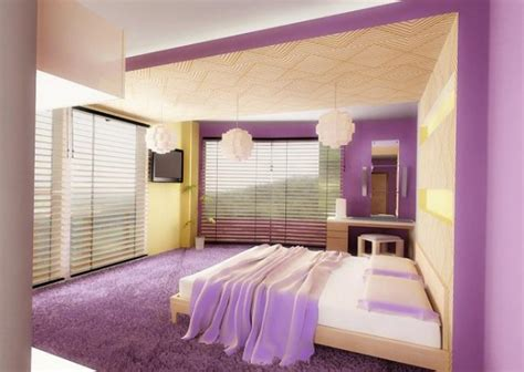 color interior design modern bedroom with purple color dands