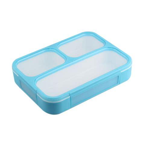Kotak Makan Sekat Sendok jual yooyee 579 grid bento box kotak makan biru sekat 3 harga kualitas terjamin