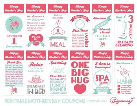 printable mother s day coupon book template mother s day printable gift coupons 5 99 via etsy